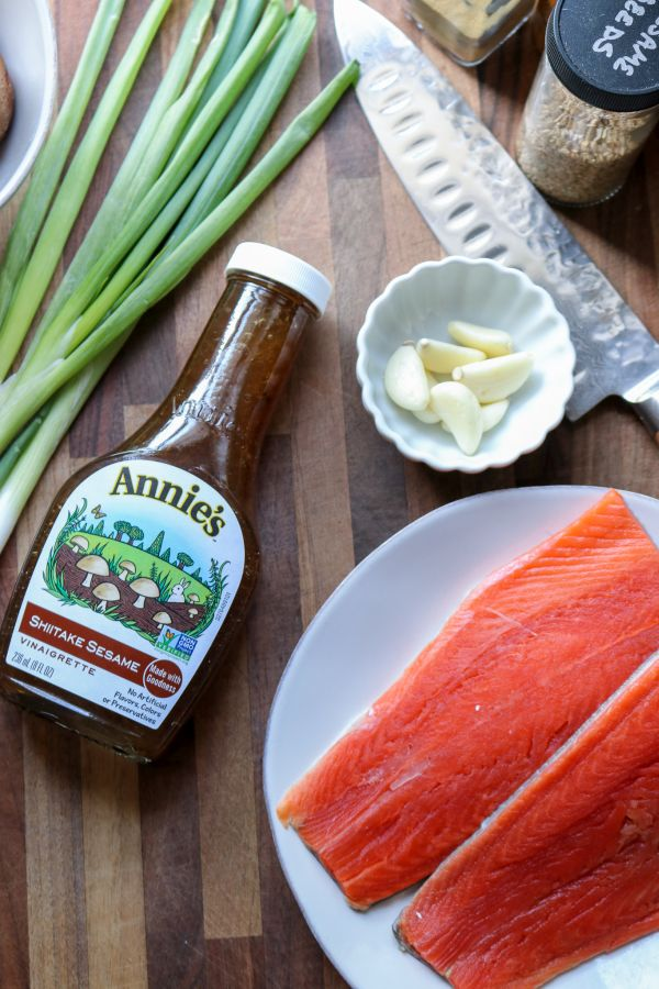 Annies Sesame Dressing with raw salmon and knife