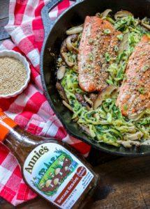 Warm Mushroom Zoodle Salad with Salmon and Shiitake Sesame Vinaigrette: