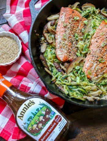 Salmon Mushroom Zoodle Salad