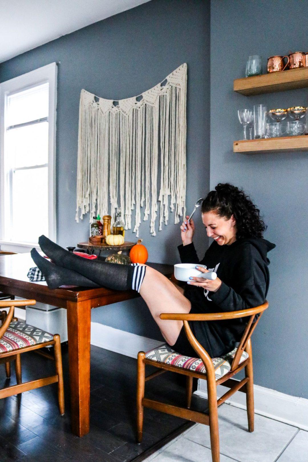 Lauren Nagel of Bon Appeteach eating Keto chili