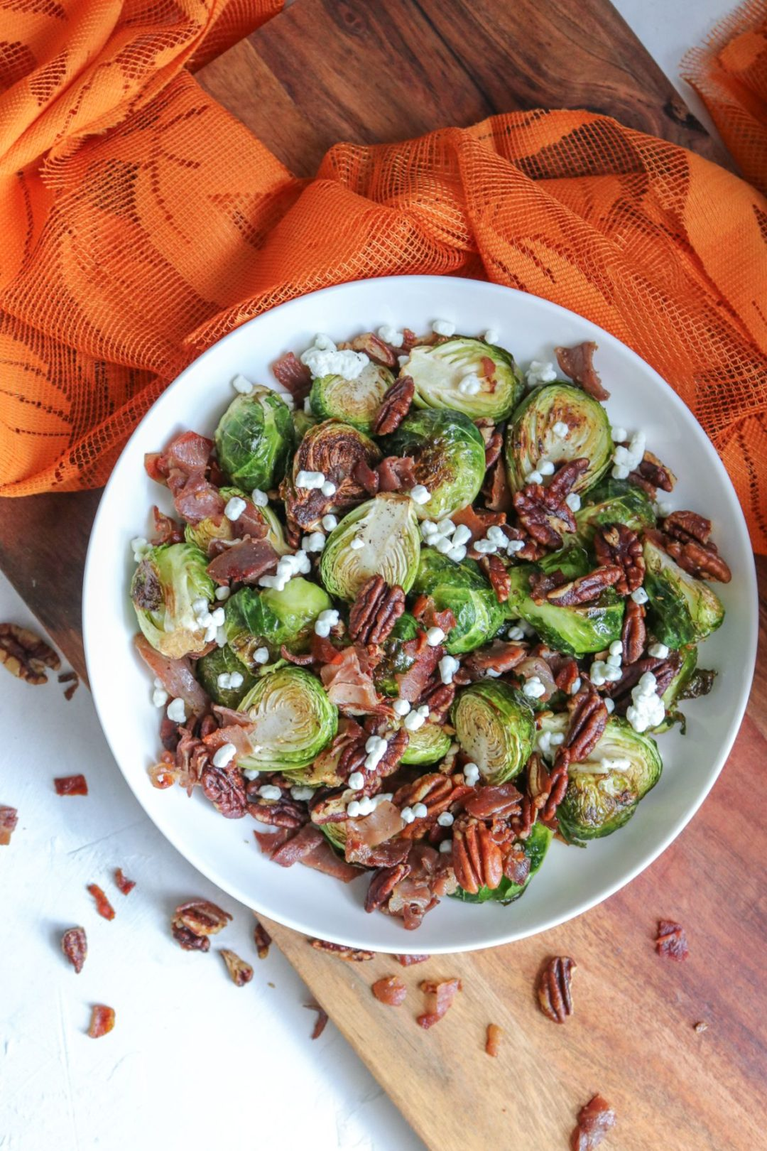 Roasted Brussel Sprouts with Crispy Prosciutto, Pecans, and Goat Cheese