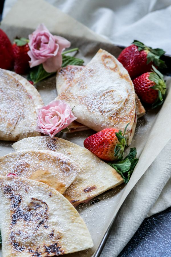 Low Carb Strawberry Cheesecake Quesadilla