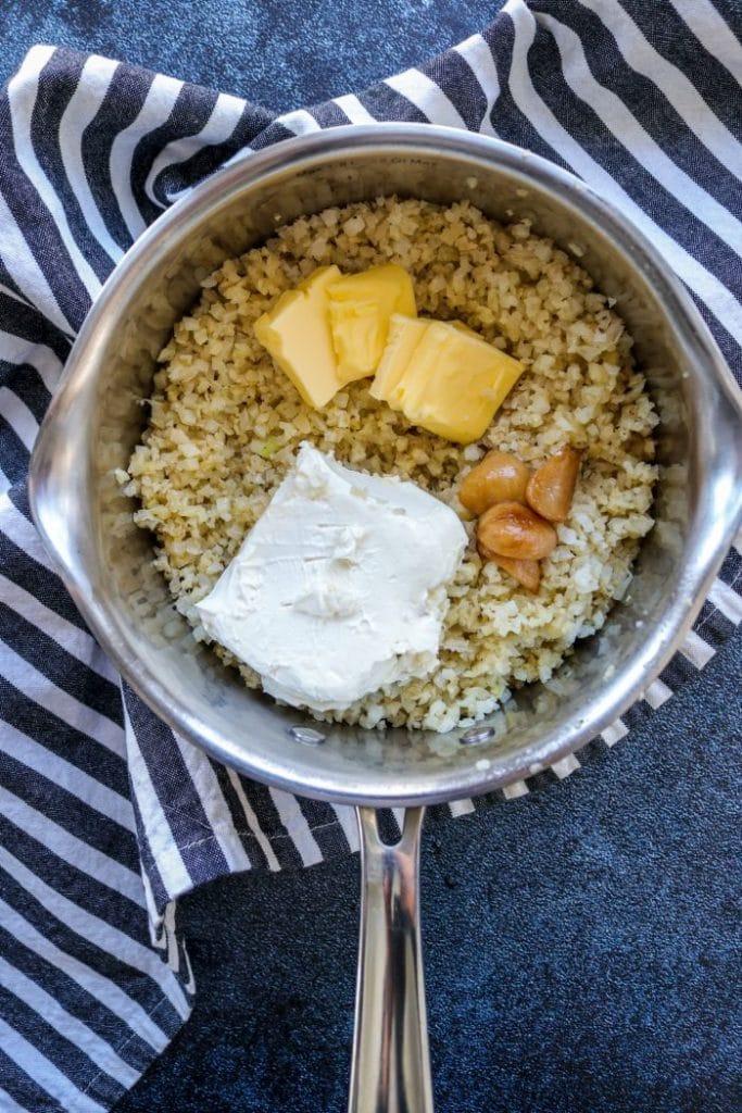 Garlic Herb Butter Cauliflower Mash