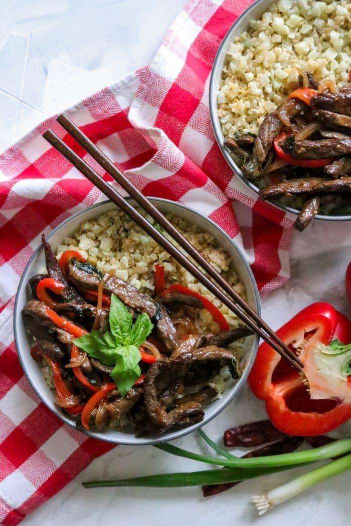 Keto Thai Basil Beef Bowls