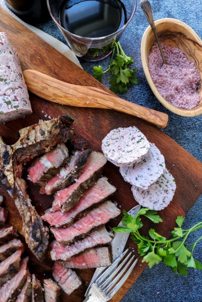 Steak with Red Wine Compound Butter