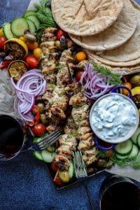 Easy Grilled Greek Chicken Platter
