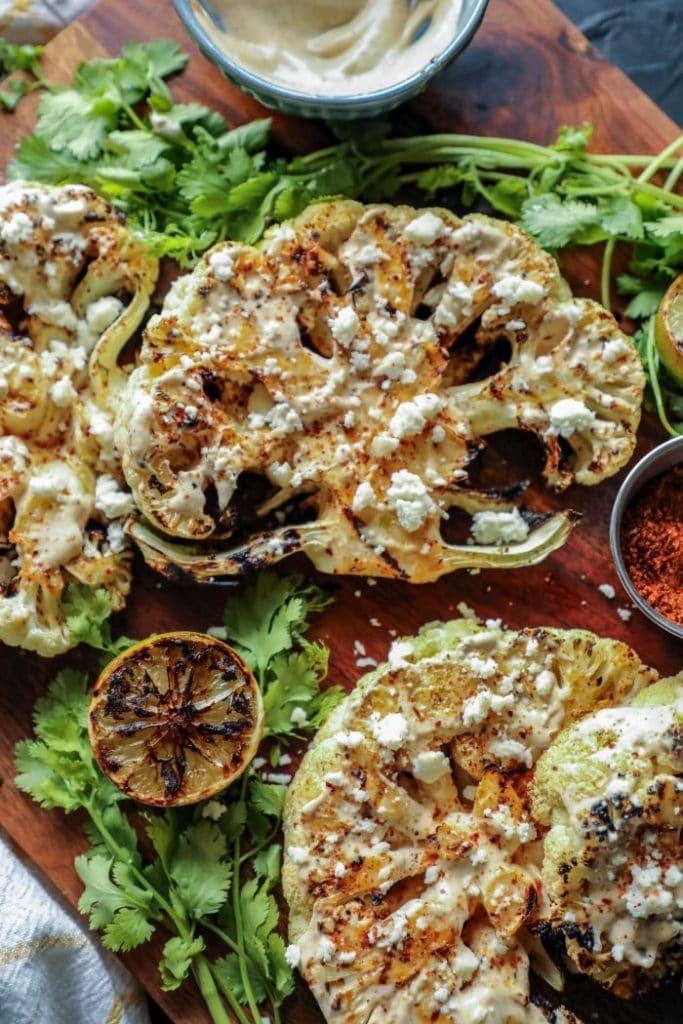 Grilled Elote Style Cauliflower Steaks