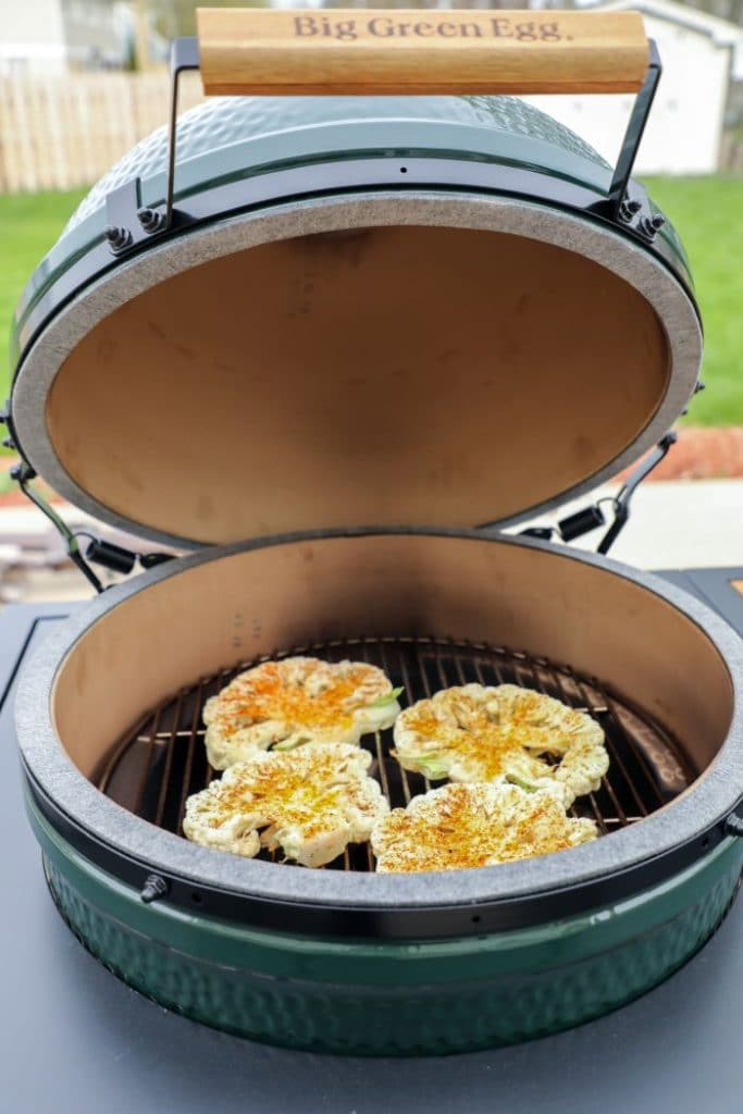 Cauliflower steaks on the grill.