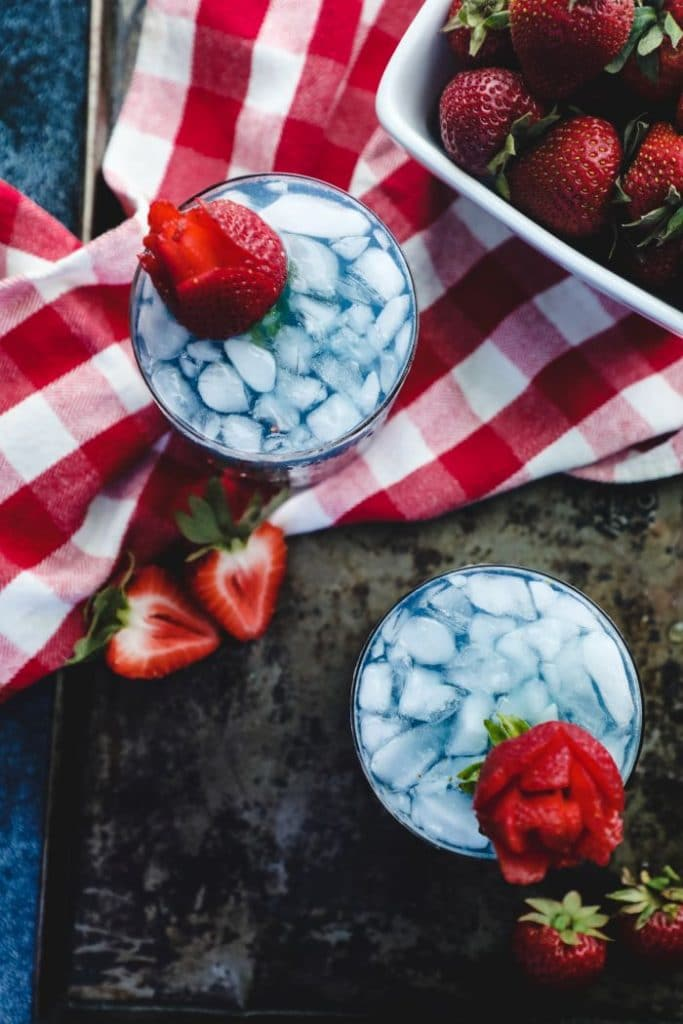 two red white & blue keto cocktails - overhead shot