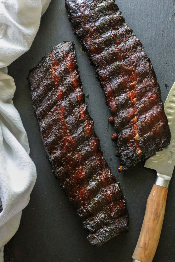 A close up of cooked ribs.