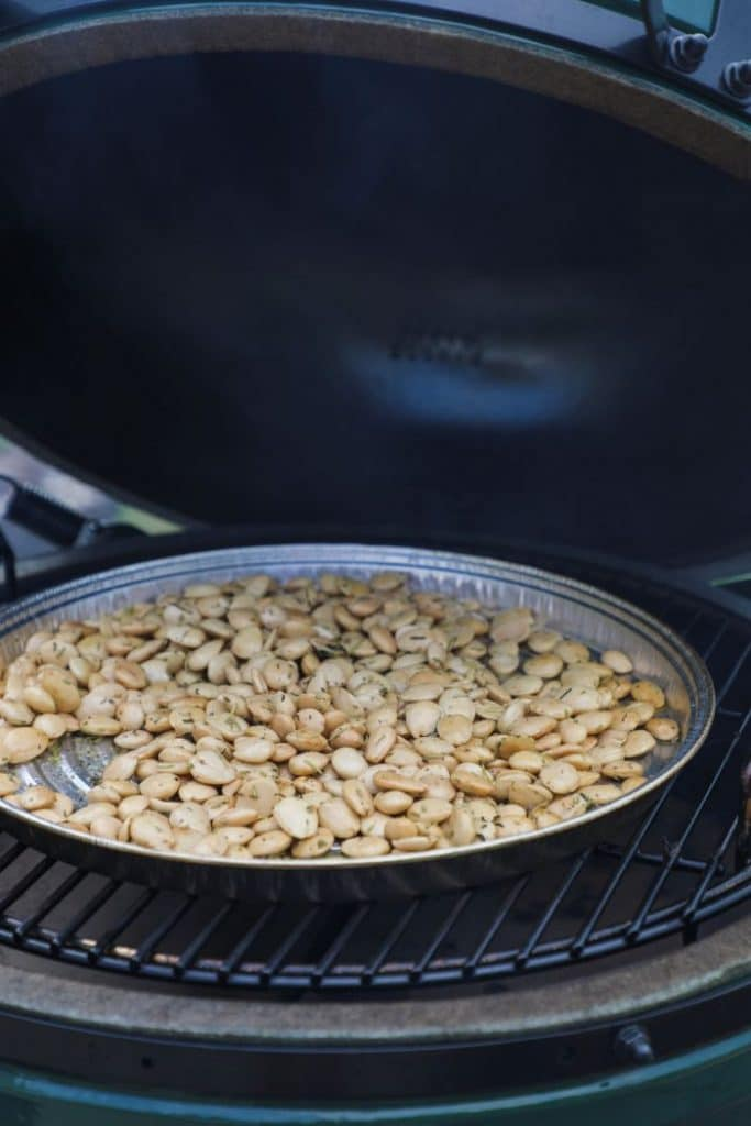 Smoked marcona almonds on the big green egg.