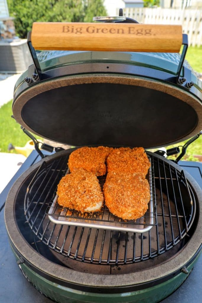 Smoked Dill Pickle Brined Pork Chops on the big green egg.