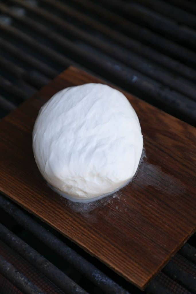 Cedar Plank Smoked Burrata on the grill.
