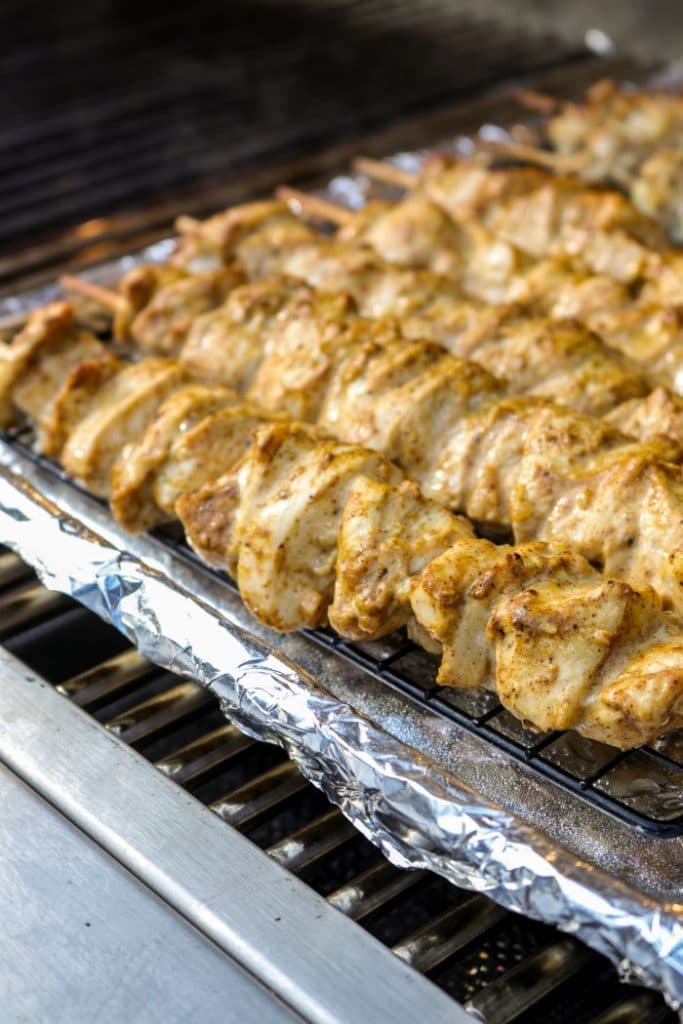Chicken kebabs on the grill on indirect heat