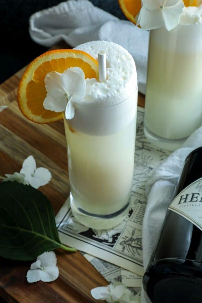 Keto Ramos Gin Fizz- Creamsicle flavored cocktail.