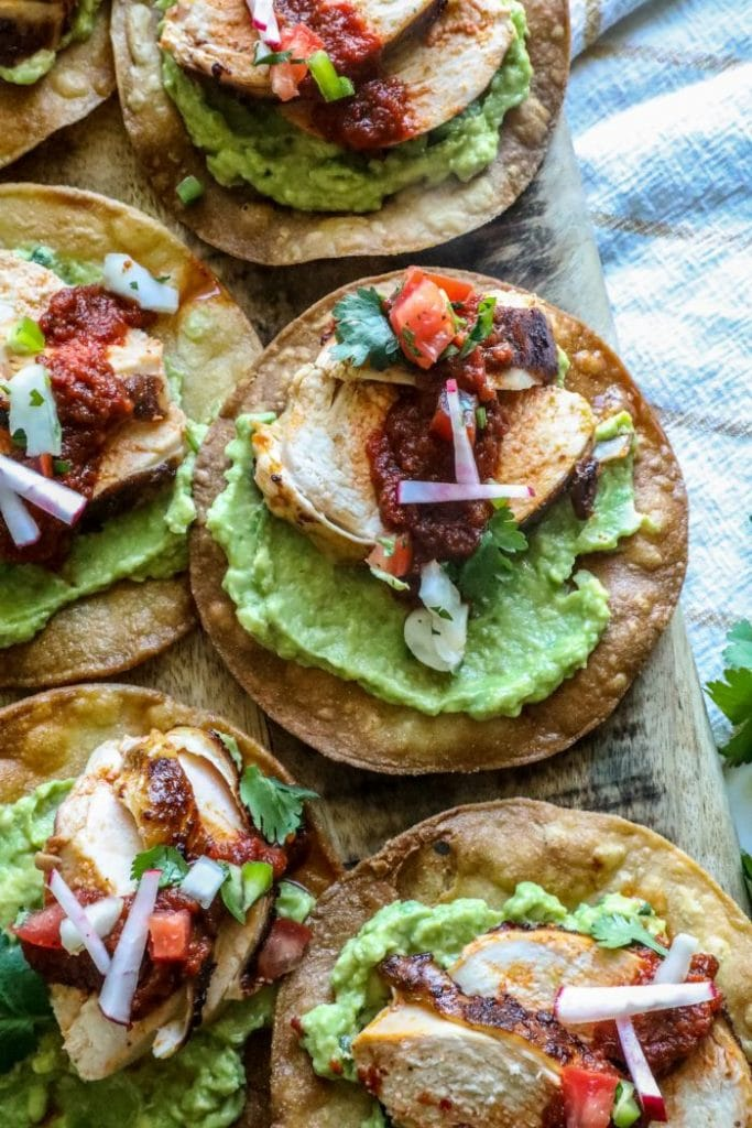 Grilled Spatchcock Chicken Tinga tostadas