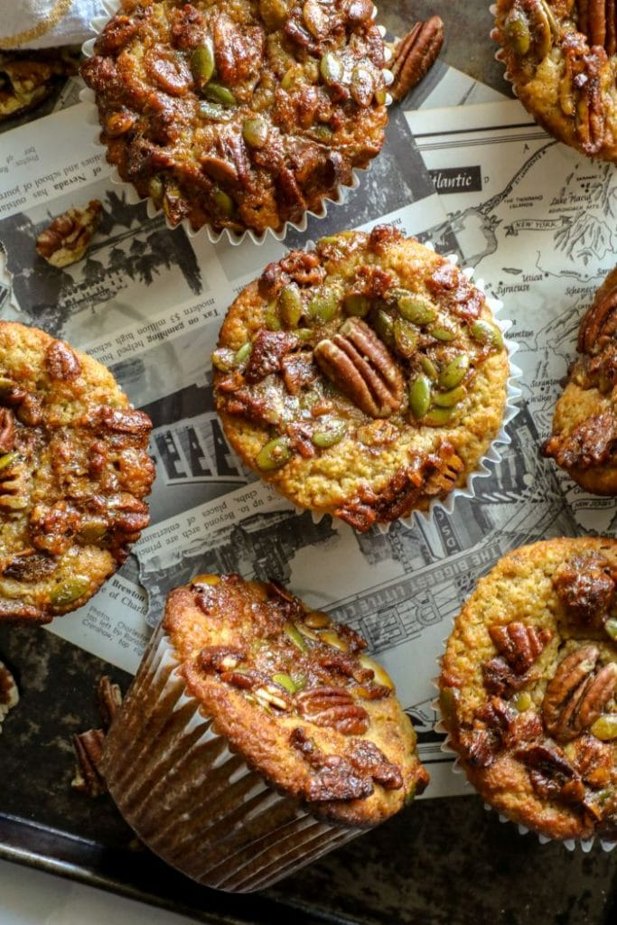 Keto pumpkin muffins on a tray.