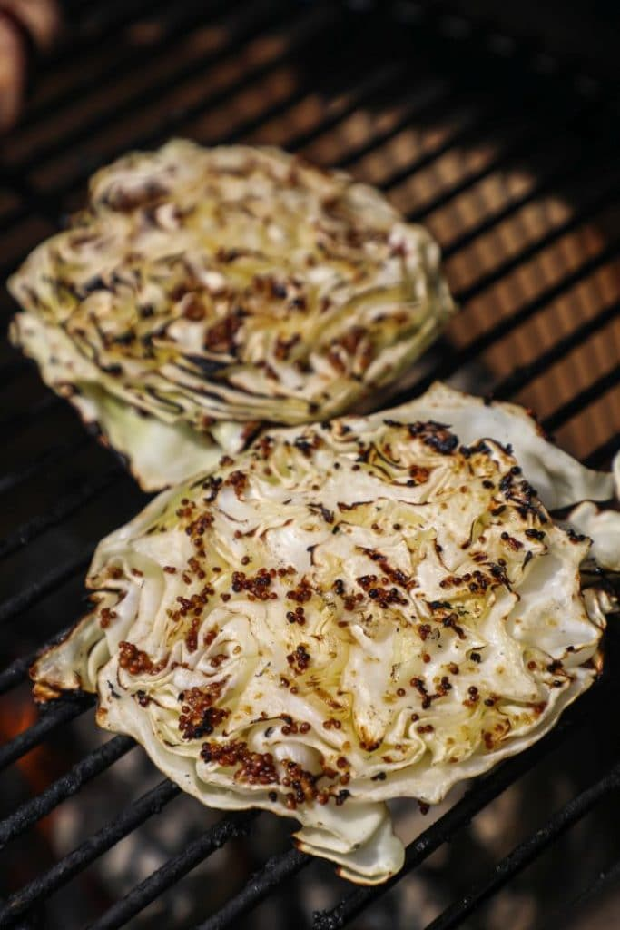 Grilled cabbage steaks on the big green egg