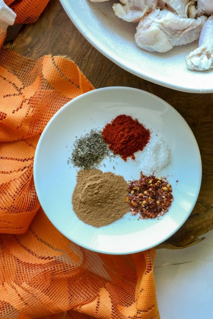 Pumpkin spice hot wing spice rub on a plate.