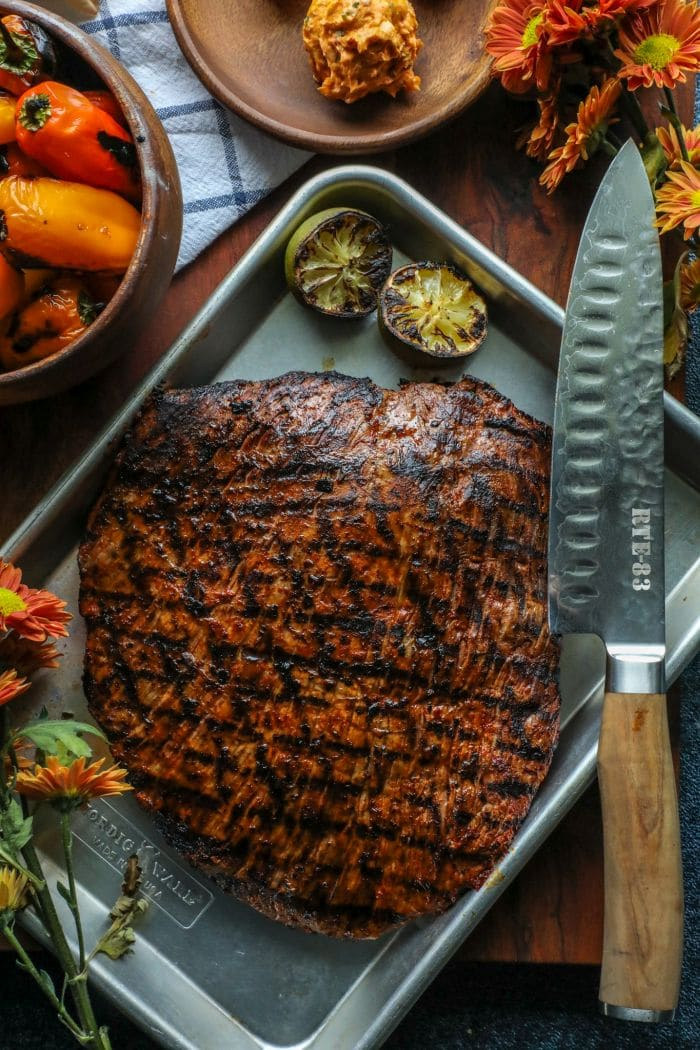 Easy Grilled Adobo Marinated Flank Steak