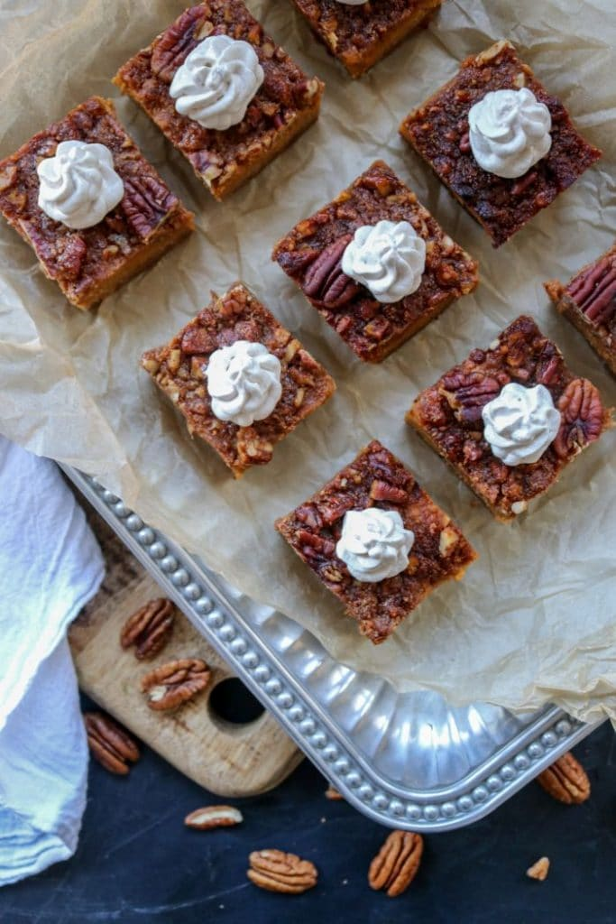 Low Carb Sweet Potato Pie Bars on a tray