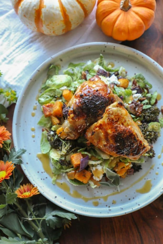 Roasted-fall-veggie-salad-with-maple-pecan-chicken-thighs