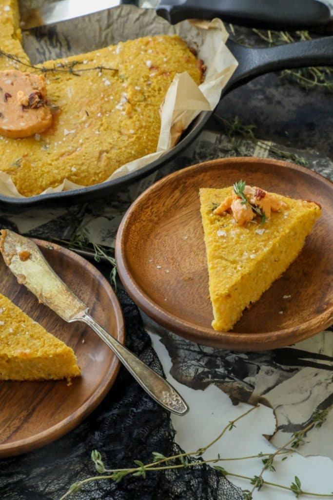 slices of the Savory Keto Pumpkin Cornbread on plates