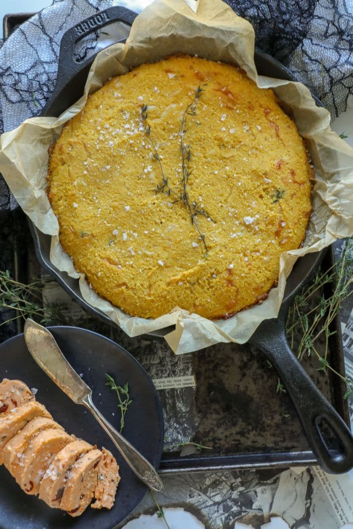 Savory Keto Pumpkin Cornbread Recipe in a cast iron skillet