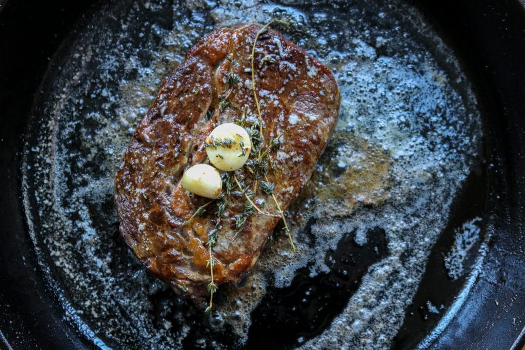 Grilled cast iron steak