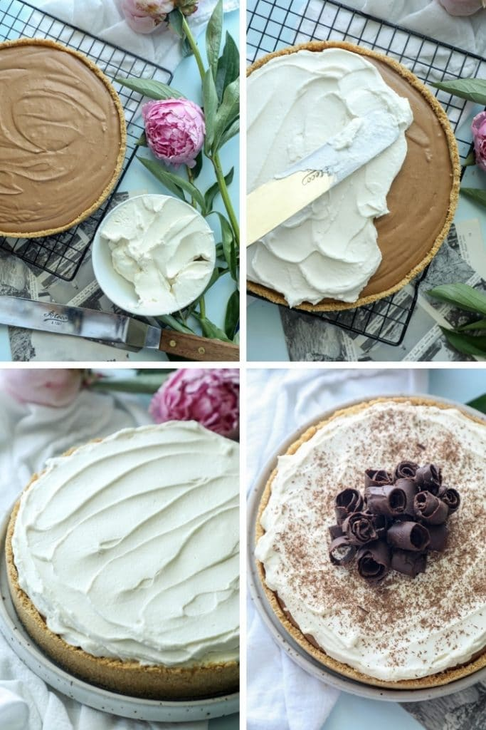 How to add the keto whipped cream to the pie (step by step).