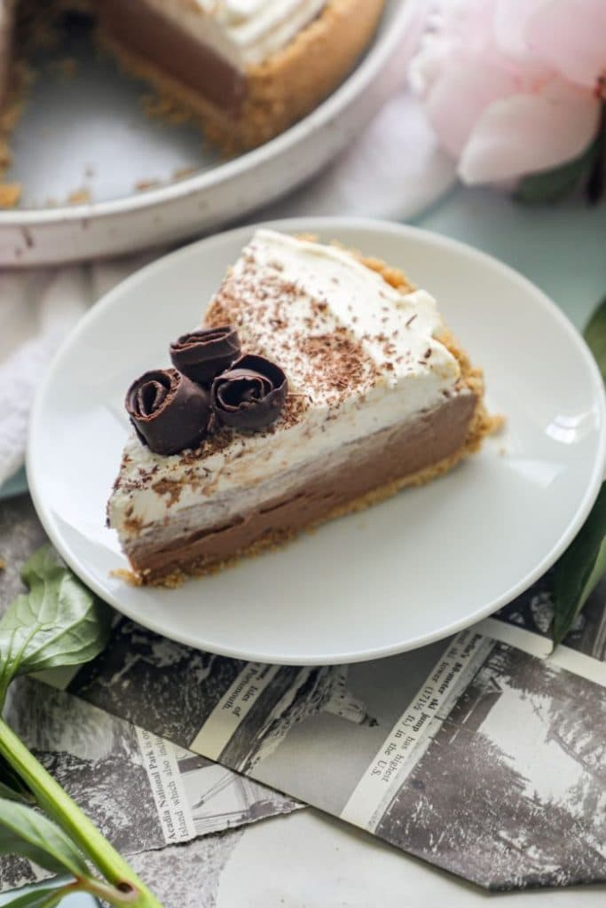 A slice of Easy Keto French Silk Pie on a plate.