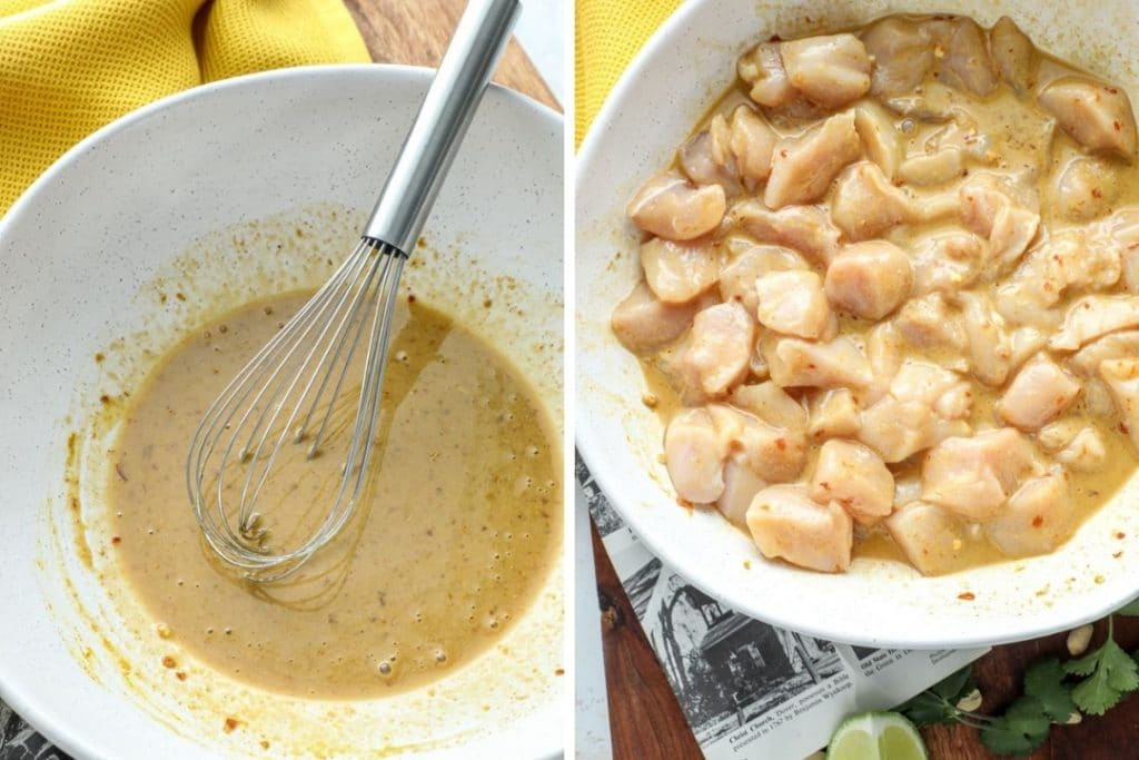 Thai Chicken Satay marinade an a bowl of the chicken actually marinating.