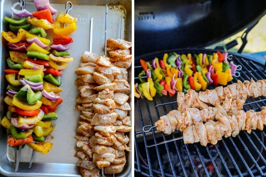 Grilled Chili Lime Chicken Fajita kebobs and on the grill.