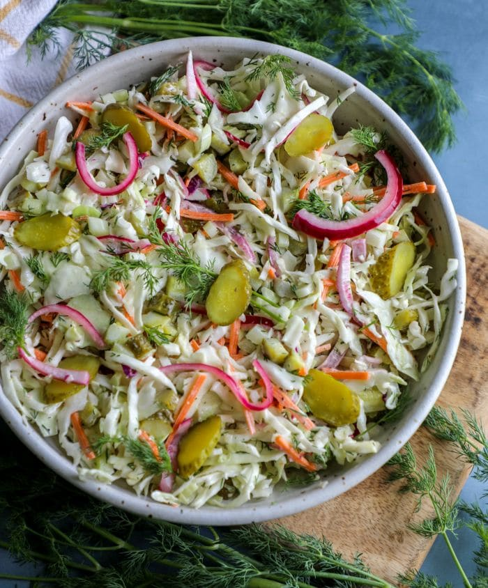 Dill Pickle Coleslaw in a large bowl
