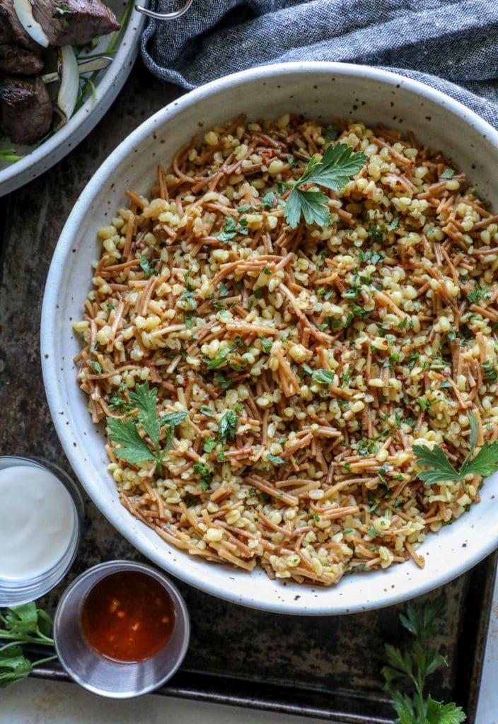 Easy Bulgur Pilaf in a large serving bowl